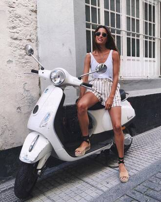 shorts tumblr stripes striped shorts sandals flat sandals espadrilles top white top tank top white tank top shoes