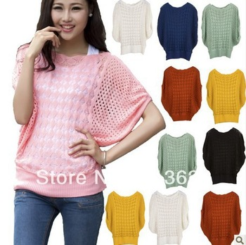 7 colors new arrival ladies' loose thin cutout batwing sleeve air conditioning blouse pullover sweater for spring/summer/autumn-in Pullovers from Apparel & Accessories on Aliexpress.com