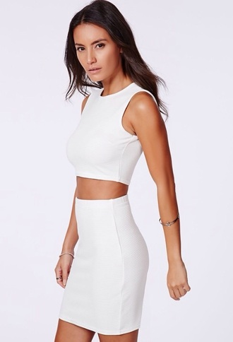 dress misguided cordinate crop tops high waisted skirt white top white skirt