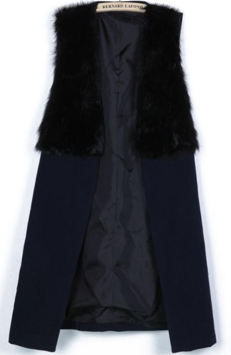 Contrast fur sleeveless cardigan coat