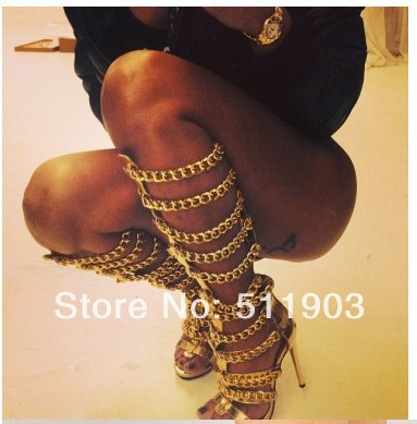 celebrity metal circle  women cut outs summer sandal boots gladiator gold chains knee high sandals-in Boots from Shoes on Aliexpress.com