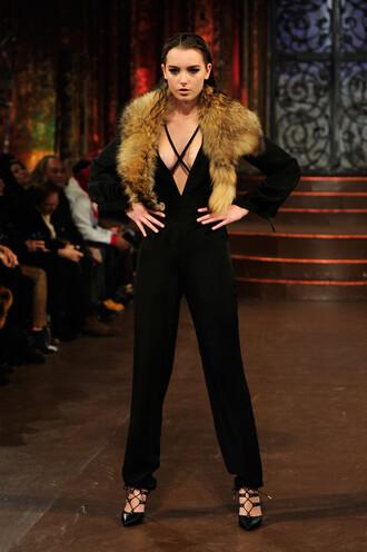 jumpsuit pants pumps fur black fashion week 2016 ny fashion week 2016