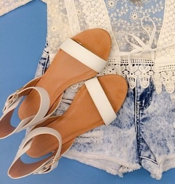 shoes sandals flats shoes white