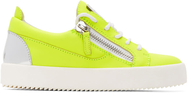 neon london sneakers silver yellow shoes