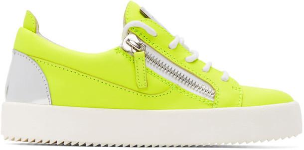 Giuseppe Zanotti neon london sneakers silver yellow shoes