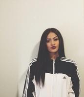 make-up,adidas,adidas sweater,adidas jacket,black and white,windbreaker,jacket,black white adidas women jacket,black and white adidas jacket,coat,black and white windbreaker adidas jacket