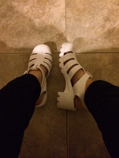 shoes,white,jellies,hipster,tumblr,tumblr girl,soft grunge,tumblr shoes