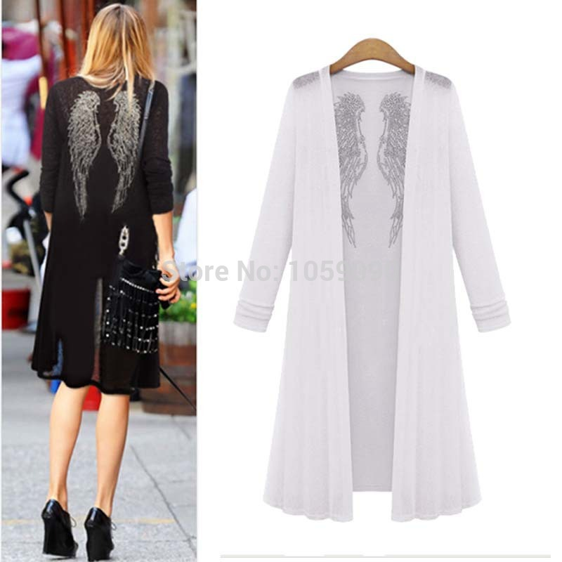 Aliexpress.com : Buy Fashion 2014 NEW BRAND Autumn Black White Blue Ladies' Long Sleeve Angel Wings Drilling Shawl Sun Protection Thin Cardigan Long from Reliable cardigan jacket suppliers on Vogue Official Online Shop