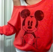 sweater,mickey mouse,red