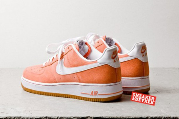 shoes salmon suede af1low air force ones low af1 low nike nike air force 1 sneakers suede sneakers