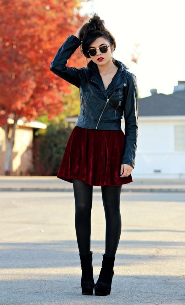 galore beneath the stars jacket sunglasses skirt red skirt shirt burgundy velvet skirt velvet red mini skirt
