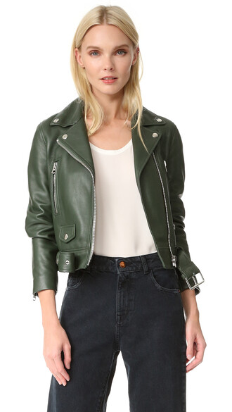 jacket forest leather green forest green