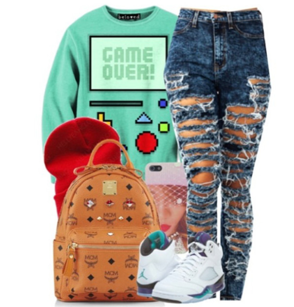 jeans bag sweater shoes
