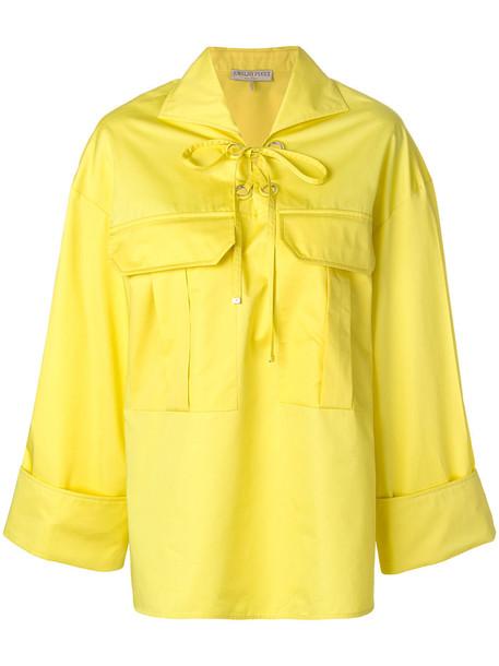 shirt oversized women cotton yellow orange top