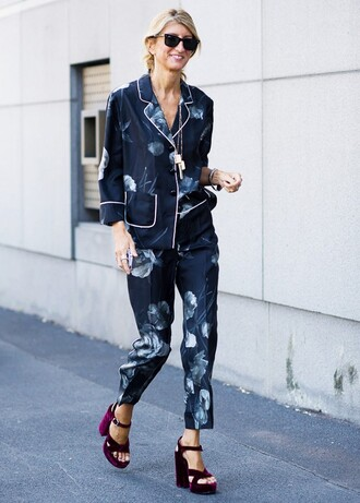 shoes velvet shoes burgundy shoes sandals sandal heels high heel sandals pants printed pants blue pants shirt blue shirt printed shirt pajama pants pajama shirt matching set streetstyle sunglasses black sunglasses velvet sandals pajama style