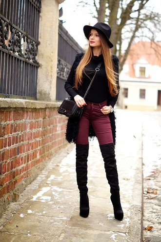 only my fashion style blogger fedora skinny pants thigh high boots cardigan winter outfits