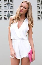 dress,lace,romper,white,jumpsuit,white lace dress,white chiffon romper