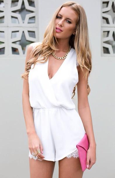 dress lace romper white jumpsuit white lace dress romper white chiffon romper