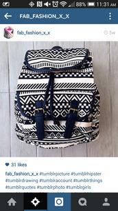 bag,aztec,aztec bag,aztec bags,aztec black and white,black and white bag,black and white,drawstring backpack