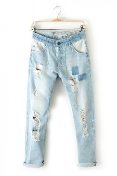 KCLOTH Washed Blue Ripped Jeans