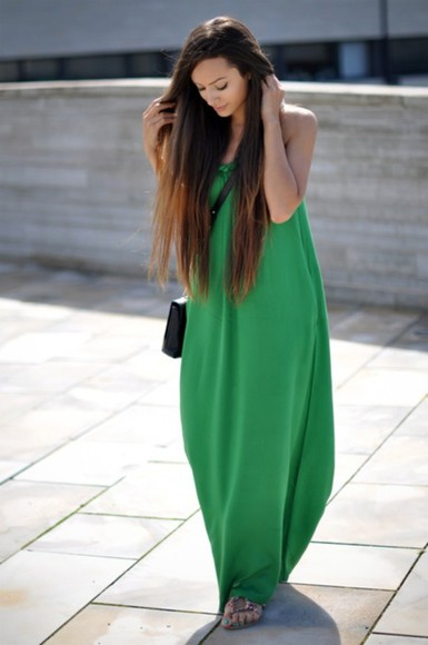 dress maxi dress long dress clothes green dress green maxi dress