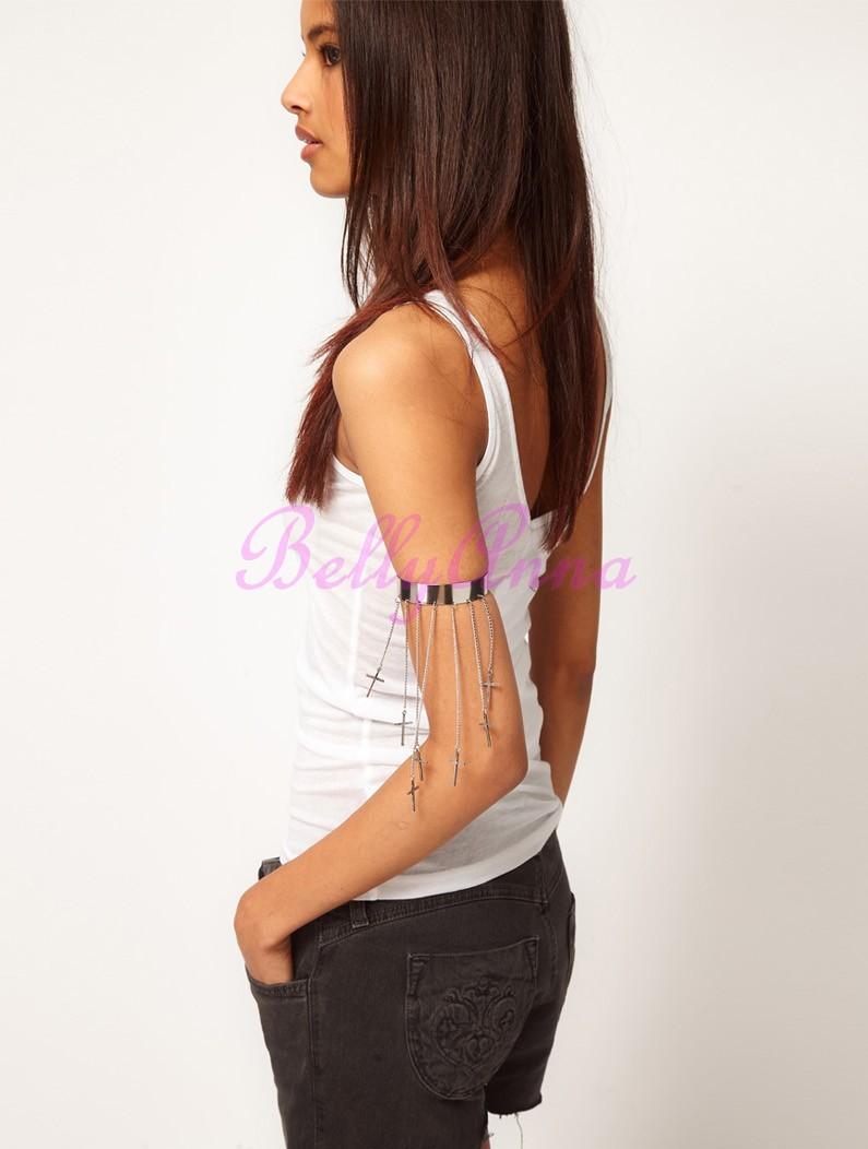 Silver Plated Women Girls VTG Punk Cross Tassel Pendant Arm Cuff Bracelet Bangle | eBay