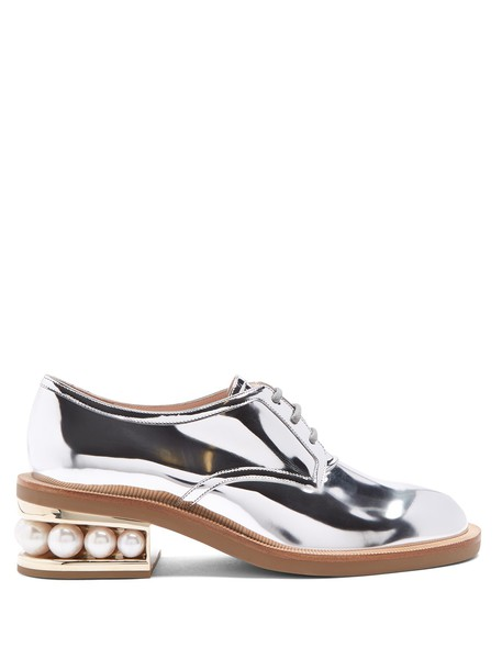 Nicholas Kirkwood pearl shoes leather silver