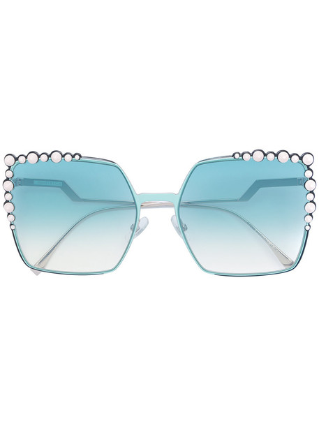 Fendi Eyewear - Can Eye sunglasses - women - metal - 60, Grey, metal in metallic