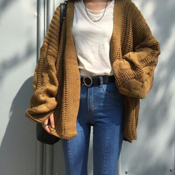 d970d51763 cardigan yellow oversized cardigan sweater winter outfits fall outfits  tumblr aesthetic grunge brown tumblr outfit aesthetic