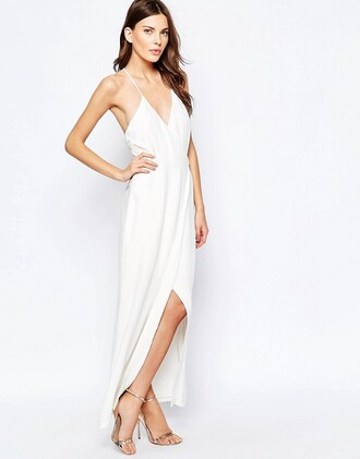 dress white white dress white long dress long dress maxi dress sleeveless dress spaghetti strap