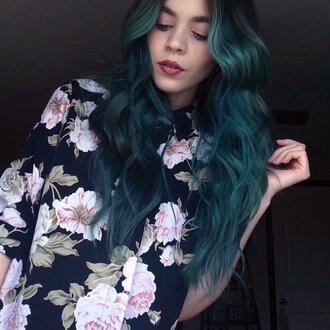shirt floral shirt vintage edgy grunge boheme pastel nude rose ros floral flowers flower shirt blue shirt