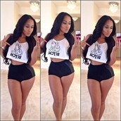 t-shirt,clothes,shorts,black see thru shorts,top,dope,hot,sexy,white top,black top,trendy,black,white,bad bitches link up,bitch,crop tops,white crop tops,los angeles,gangsta