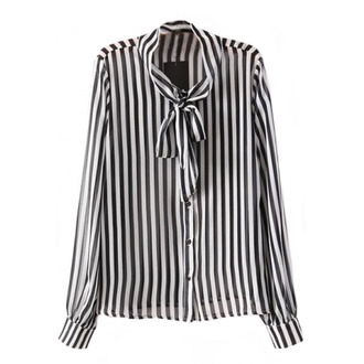 blouse bow-tie black and white stripes striped blouse office outfits shirt