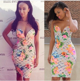 dress draya michele bustier dress floral dress red lime sunday basketball wives trendy