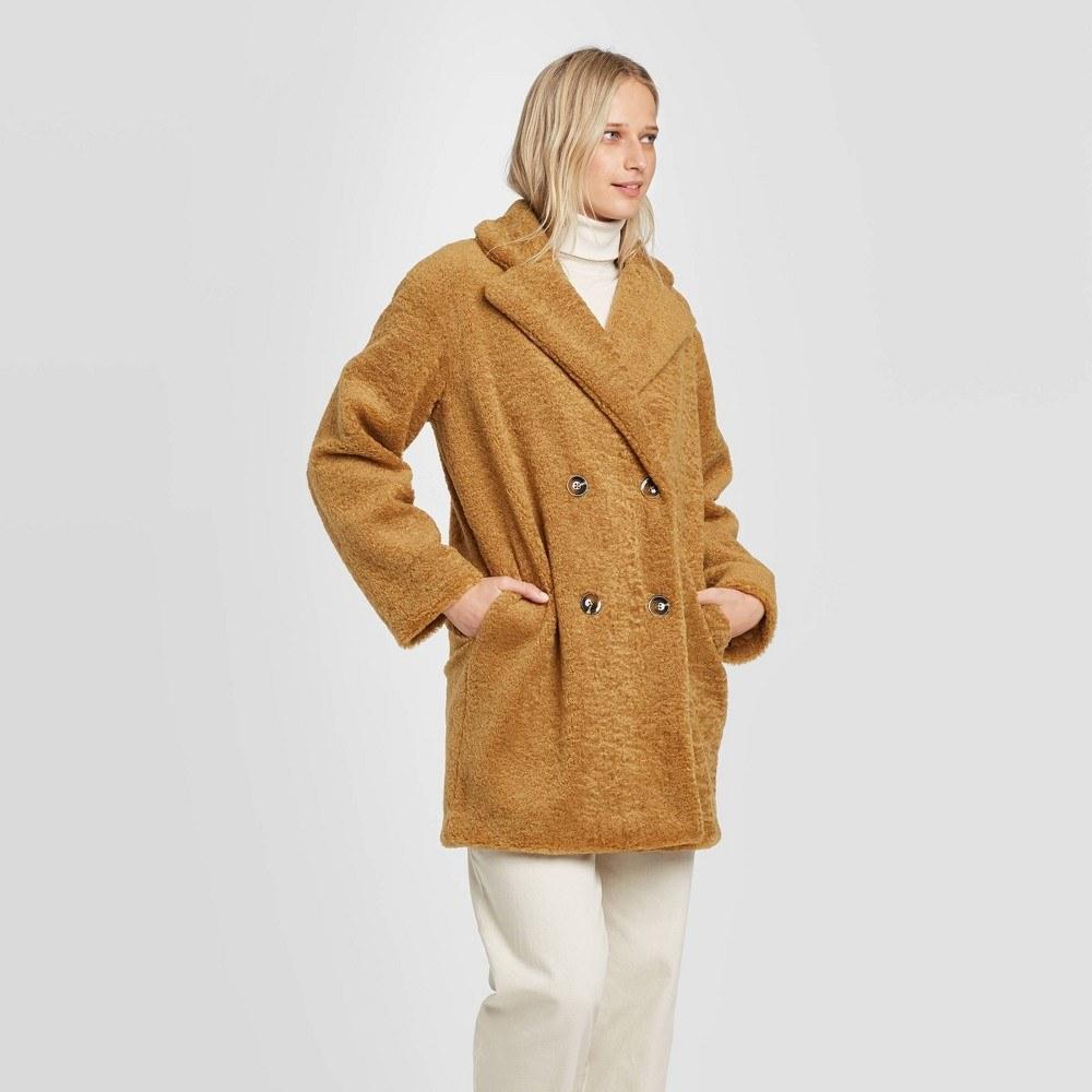 Women's long sleeve double breasted faux fur coat - who what wear&™ brown m
