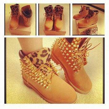 SALE Custom Spike Timberlands by LipstickOnMyLatteNEW on Etsy on Wanelo