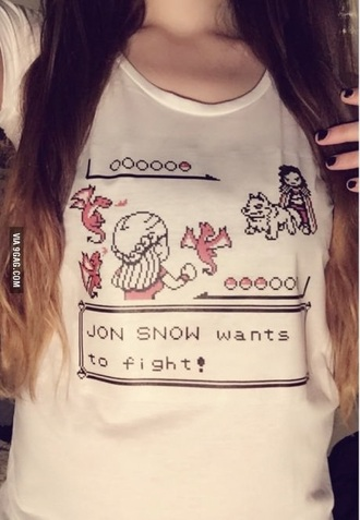 blouse white game of thrones game of thrones shirt pokemon funny shirt t-shirt cool shirts