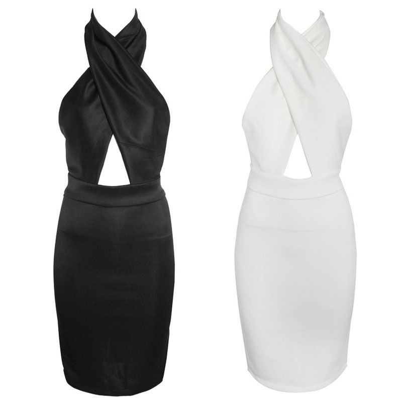 New Celebrity Elegant Sexy Halter Backless Bodycon Skirt Mini Dress Black White | eBay