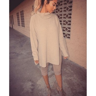 top nude all nude everything beige turtleneck nude leggings leggings tights nude heels