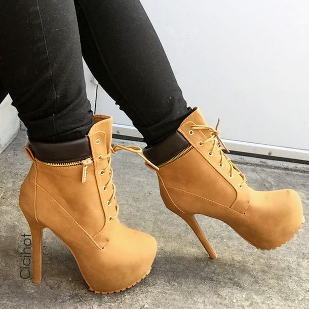 shoes boots booties combat heels high heels heels tan booties winter bnooties timberland booties timberland heels cute high heels cute boots winter booties winter outfits winter trends