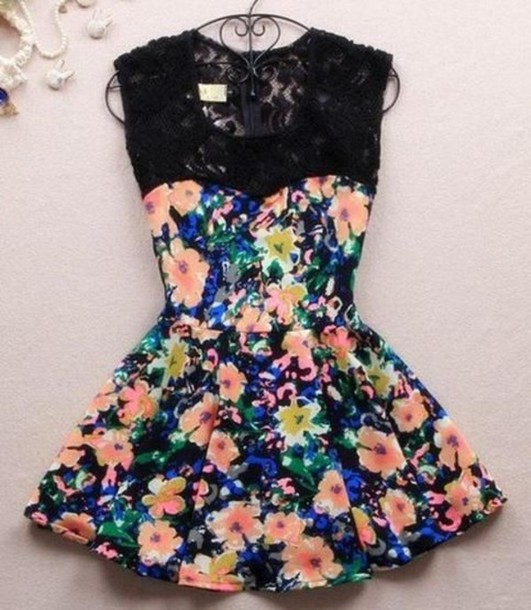 Lace dress with flowers