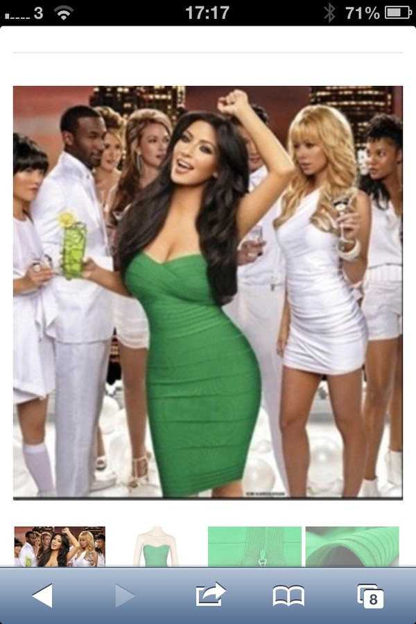dress green strapless bandage dress
