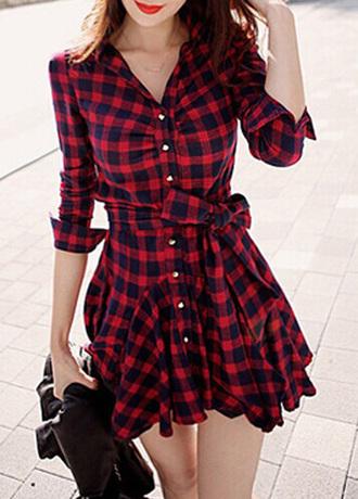 dress plaid bow fashion red cute