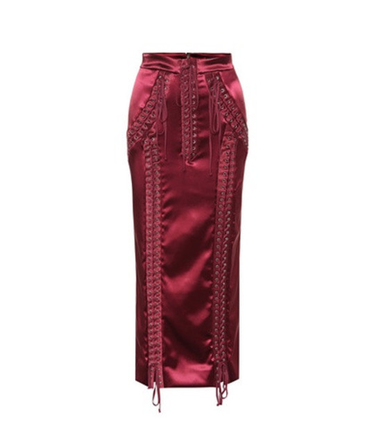 Dolce & Gabbana Stretch satin lace-up skirt in red