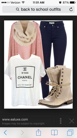 high waisted jeans combat boots chanel shirt t-shirt shoes jeans shirt hat chanel t-shirt