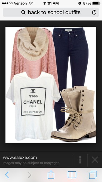 shoes combat boots jeans high waisted jeans chanel shirt t-shirt