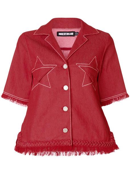 House of Holland jacket denim jacket denim women spandex cotton red