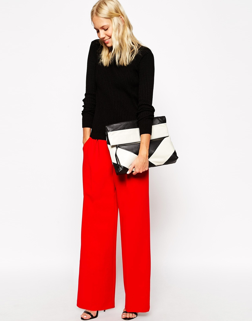Asos wide leg trousers with piping at asos.com