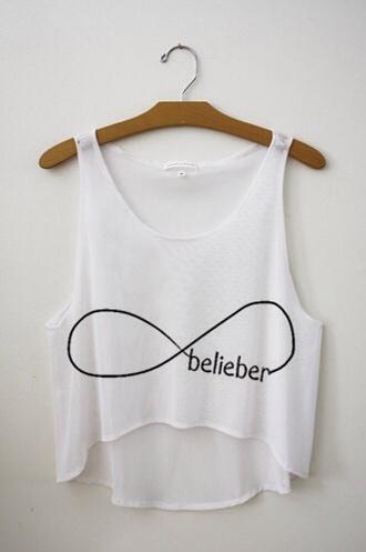 t-shirt justin bieber infinity crop tops