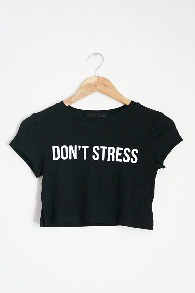 Don't stress black crop top – love street